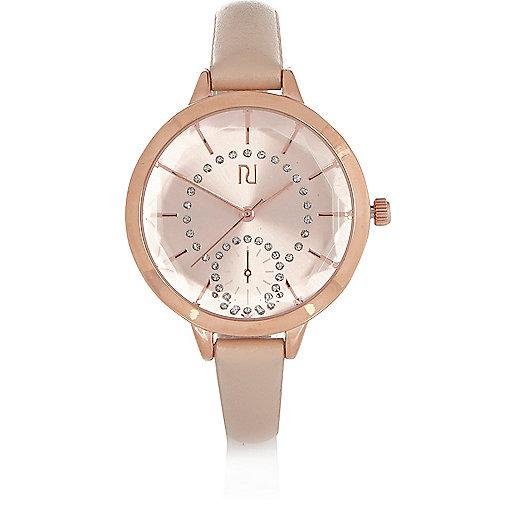 Uhr in Beige mit schmalem Armband
