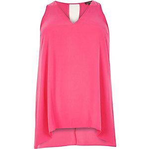 RI Plus pink V-neck hanky hem vest