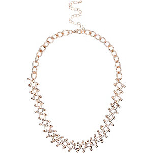 Gold tone interlinking chain necklace