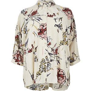 RI Plus cream floral print oversized shirt