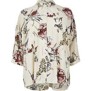 RI Plus cream floral print oversized shirt