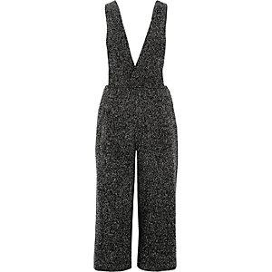 Grey bouclé plunge jumpsuit