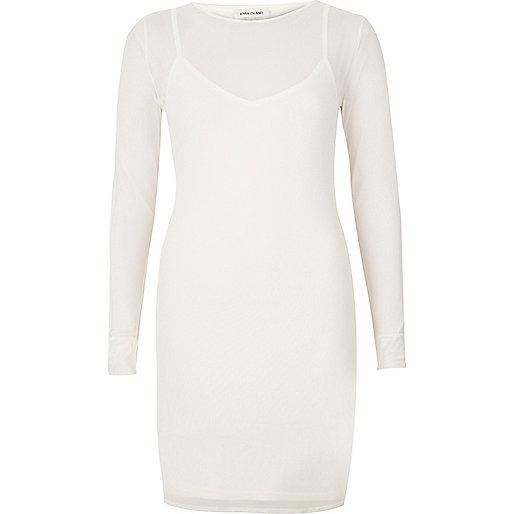 White mesh mini dress