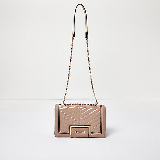 Light pink patent quilted handbag