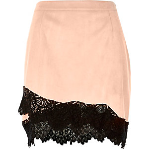 Light pink faux suede lace hem mini skirt