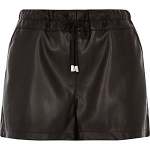 Black leather look runner shorts