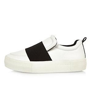 White elastic panel flatform sneakers