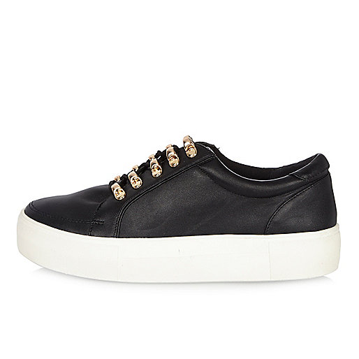 Black leather look platform trainers