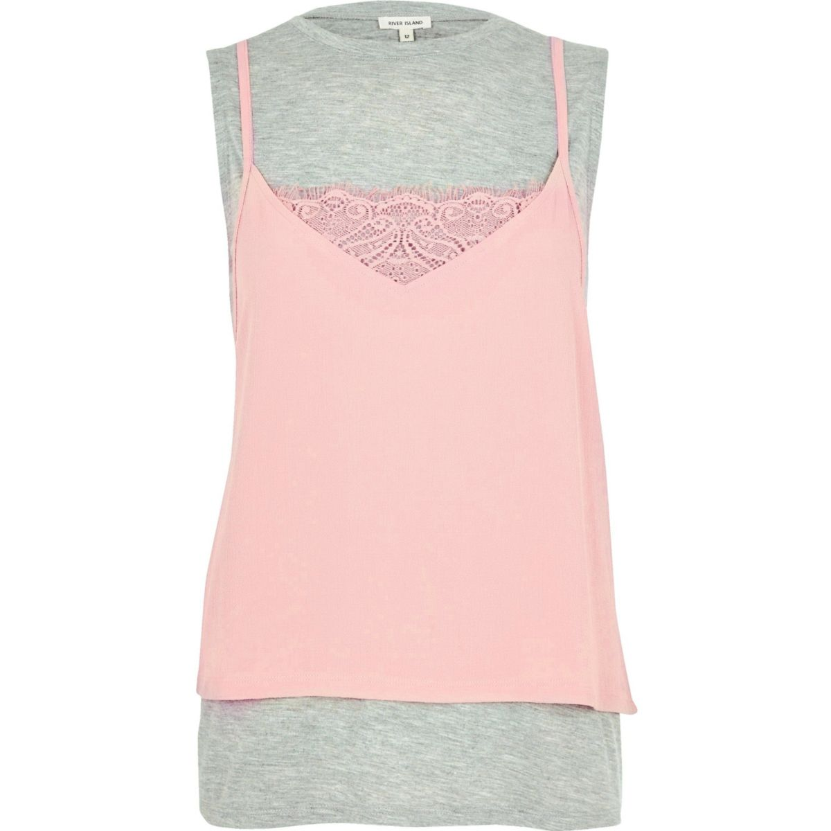 Grey 2 in 1 cami top