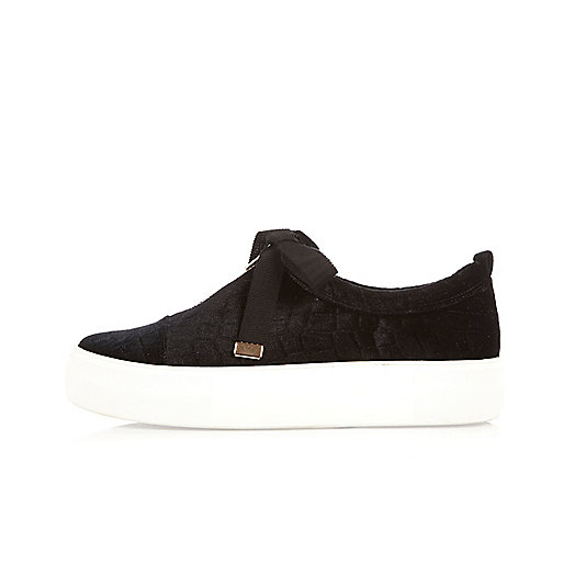 Black velvet zip front platform trainers