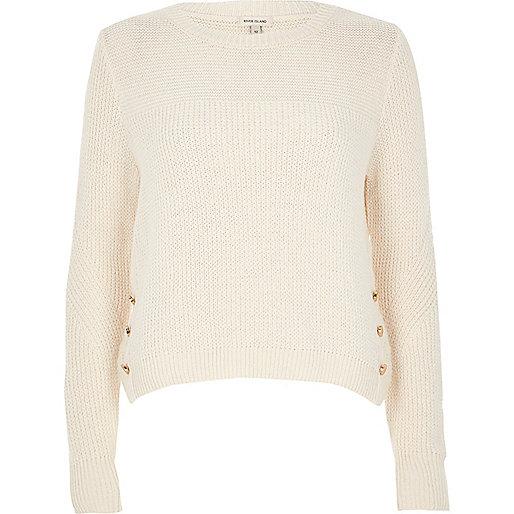 Cream knit button trim jumper