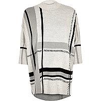 Lichtgrijze geruite oversized pullover