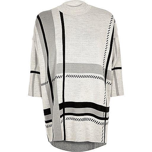Light grey check oversized sweater