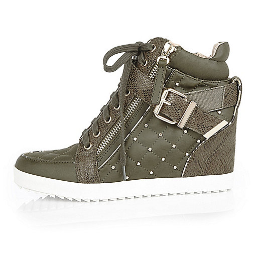 Khaki studded wedge hi tops