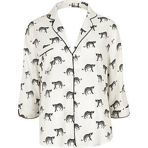 White cheetah print pajama shirt