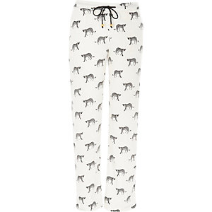 White cheetah print pajama bottoms