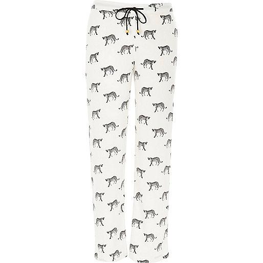 White cheetah print pajama bottoms