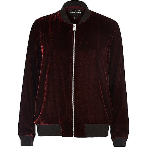 Burgundy velvet bomber jacket