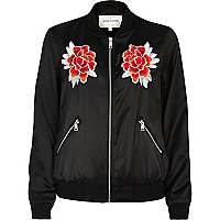 Black satin floral bomber jacket