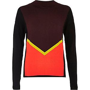 Purple long sleeved block jumper
