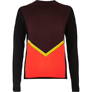 Purple long sleeved block sweater