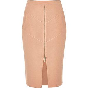 Pink zip stretch knit pencil skirt
