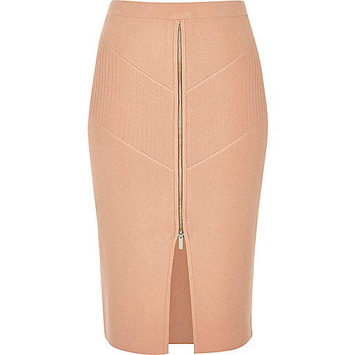 Pink zip stretch knit pencil skirt