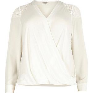 Plus white lace shoulder wrap blouse