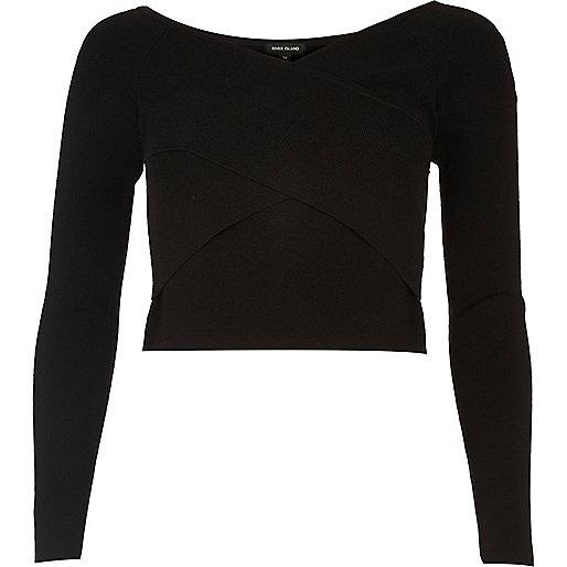 Crop top noir drapé Bardot