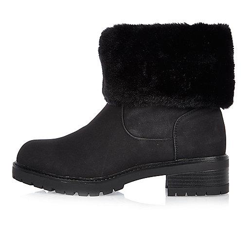 Zwarte chunky laarzen met imitatiebont