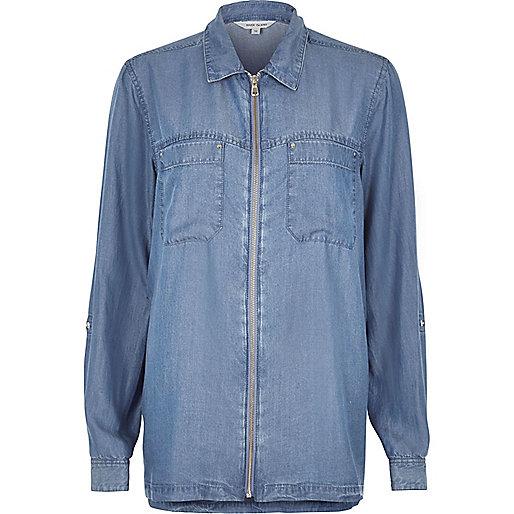Hemdjacke aus Jeans mit Reißverschluss