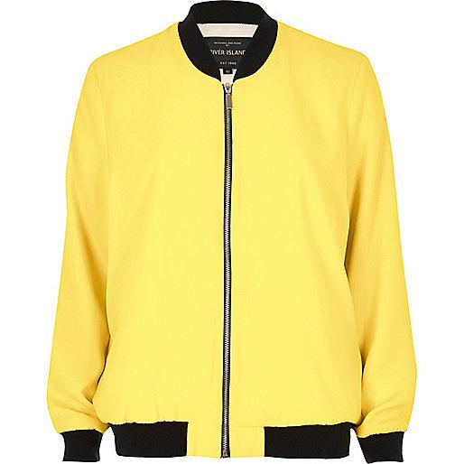 Yellow woven bomber jacket