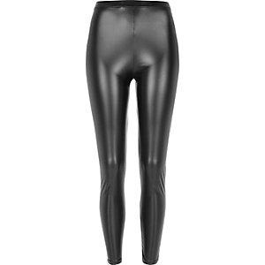 Legging noir enduit taille haute