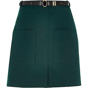 Dark green belted pocket mini skirt