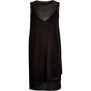 Black layered mesh jersey dress