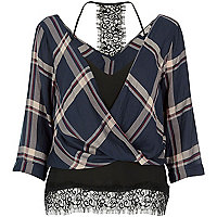 Navy checked layered wrap blouse