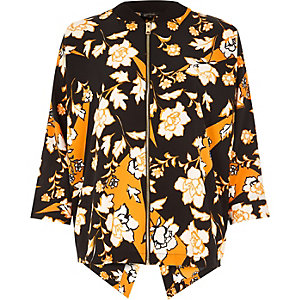 Orange print zip shirt