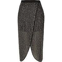 Black embellished wrap midi skirt