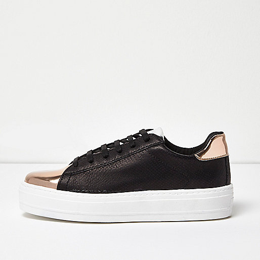 Black metallic trim platform sneakers