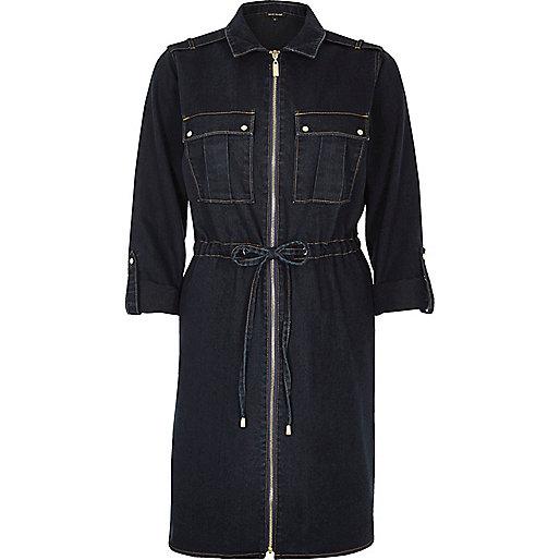 Dark wash denim zip shirt dress