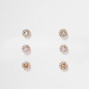 Gold tone flower diamanté earrings pack