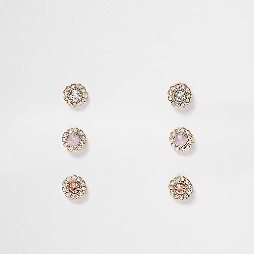 Gold tone flower diamanté earrings pack