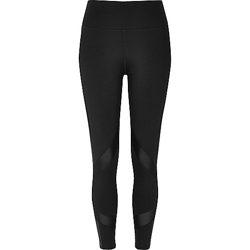Black mesh panel leggings