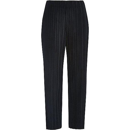Navy pleated velvet trousers