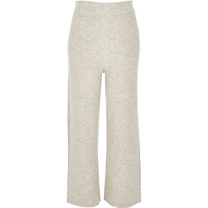 Grey cropped wide leg trousers