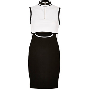 Black and white sporty panel dress