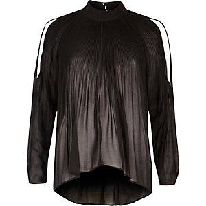 Zwarte schouderloze plissé blouse met lange mouwen