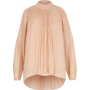 Nude pleated cold shoulder blouse