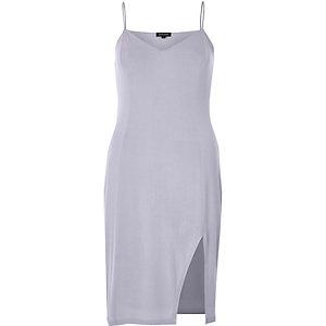 Light purple thigh split cami mini dress