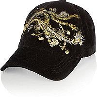 Black floral embroidered cap